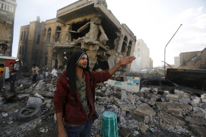 a-man-stands-in-the-rubble-left-from-a-saudi-led-air-strike-in-sanaa-yemens-capital-on-february-10-2016