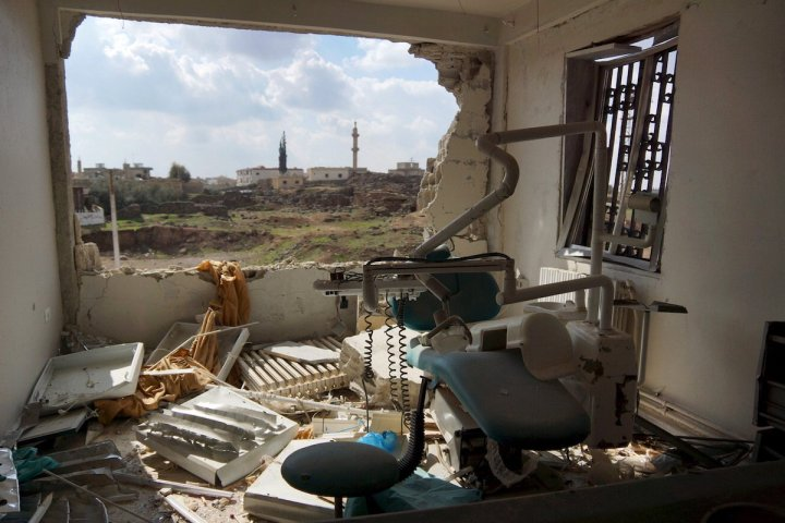 a-view-of-a-damaged-clinic-after-airstrikes-by-pro-syrian-government-forces-in-the-rebel-held-al-ghariyah-al-gharbiyah-town-in-deraa-province-syria-february-11-2016