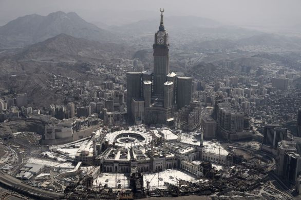 An aerial view shows the Clock Tower and the Grand Mosque in the Saudi holy city of Mecca, on September 25, 2015. AFP PHOTO / MOHAMMED AL-SHAIKH        (Photo credit should read MOHAMMED AL-SHAIKH/AFP/Getty Images)