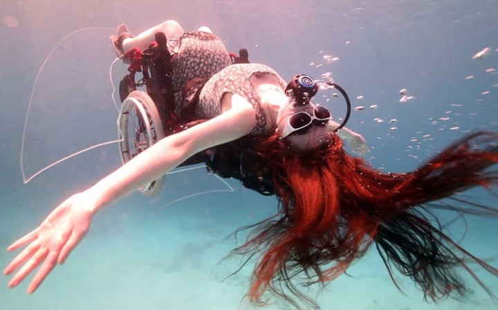 Sue Austin will perform swimming pool acrobatics in the world's first underwater wheelchair, London, Britain - 30 Aug 2012...UK: IMAGES OUTSIDE OF PRINT NEWSPAPER SUBSCRIPTIONS. FEES APPLY FOR UNIQUE IPAD USE.